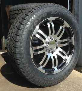 """20"""" Vision Black Wheels Rims Toyo AT2 Tires Package 6x135 6 Lug Ford F 150 Truck"""