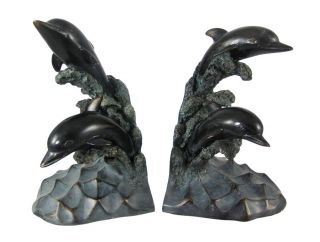 Antiqued Bronze Finish Dolphin Bookends Book Ends