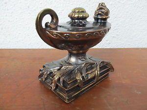 Vintage Dodge Foundry Co Bookends Aladdins Oil Lamp Copper Bronze Color Nice