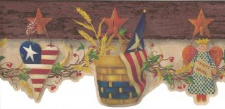 Wallpaper Border Patriotic Country Hearts Baskets Angels Stars on Brown Trim