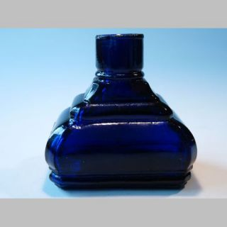 80 Antique Cobalt Depose Paris French Glass Ink Bottle Inkwell