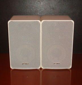 Optimus Pro 7 White Bookshelf Speakers Model 40 2065