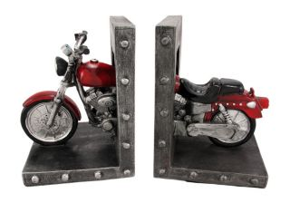Choppered Ends Cool Motorcycle Bookends Book Ends