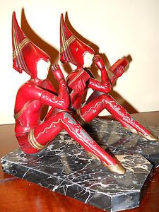 "Antique French Art Deco JB Hirsch ""Pixie"" Gerdago Girls Bookends Near Mint Cond"