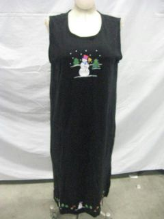 Ugly Christmas Sweater Dress Sleeveless Full Length Snowman Holiday Outfit XL