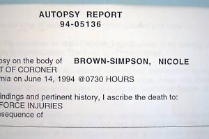 Autopsy Report of Nicole Brown Simpson