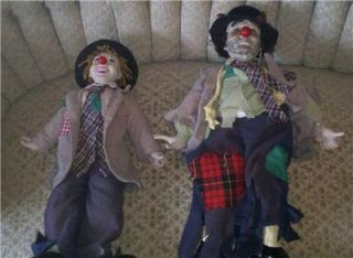Vintage Hobo Porcelain Clown Doll Pair Dynasty Collection Liza Emmitt Kelly