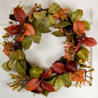 Designer Autumn Wreath Apples Pears God Red Maple Leaves Cones Berries 24inch