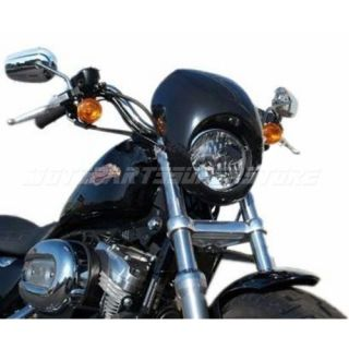 New Cafe Drag Headlight Fairing Custom Visor Harley Sportster Dyna FX XL Fork