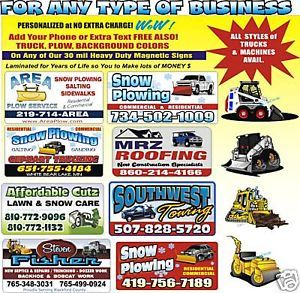 2 Custom Magnetic Snow Plow Truck Signs for UR Business
