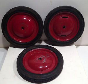 Three Vintage Pedal Car Wheels with Firestone Tires Size 8 x 1 1 4 F