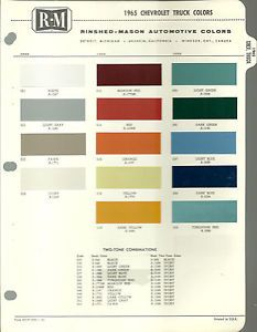 1965 Chevy Truck Color Chip Paint Sample Chart Brochure R M
