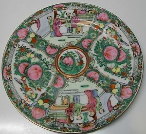 Antique Chinese Rose Medallion Mandarin Plate with Asian Figures Birds Flowers