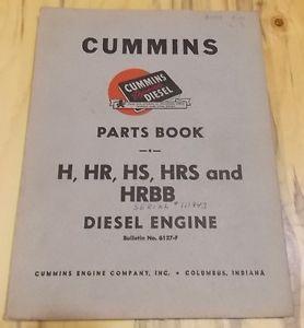Cummins Diesel Engines Parts Book H HS HR Hrs HRBB 6127 F 1951