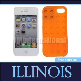 Removable 3D Lego Toy Brick Block Soft Rubber Gel Silicon Case Cover iPhone 4 4S