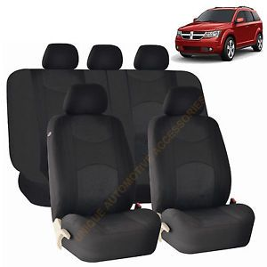 Dodge RAM Journey Black Semi Custom Airbag Split Bench Seat Covers 9pc Set