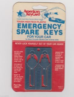 Vintage Emergency Spare Key Set Will Fit Chrysler Dodge Plymouth 1967 1985