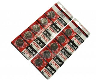 10pc Genuine Maxell CR2032 2032 3V Lithium Button Coin Cells Batteries Battery