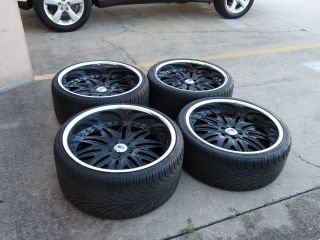 """22"""" asanti Black Chrome Staggered Wheels Rims and Tires 5x120 Package Local Only"""