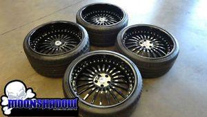 "Asanti AF 122 Custom All Black 22"" 3 PC Wheels BMW 7 Series 745 750 with Tires"