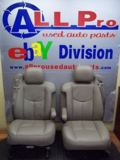 1999 2006 Chevy GMC Truck Seats Tan Leather Vinyl Bucket Seat Set Nice A