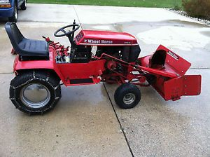 """Wheel Horse 312 8 Tractor with 42"""" Snow Thrower and Tire Chains 36"""" Mowing Deck"""