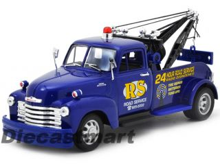 Welly 1 24 1953 Chevrolet Road Service Tow Truck New Diecast Model Blue