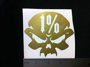 1 Skull Vinyl Sticker Decal Gold Biker Gang Motorcycle Harley Davidson Racing