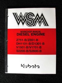 Kubota Z751 Z851 DH1101 D1301 V1501 V1701 S2200 B Diesel Engine Service Manual