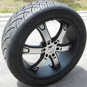 """22"""" Black KMC Brodie Wheels Rims Nitto NT420S Tires Ford F150 Expedition 6x135mm"""