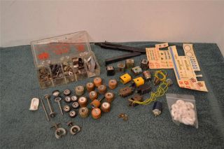 Vintage 1 24 Scale Slot Car Parts Lot Tires Gears Springs Motor Parts