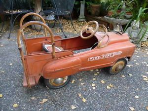 Vintage Pedal Car Jet Flow Drive Fire Truck City Murray 5 Tires