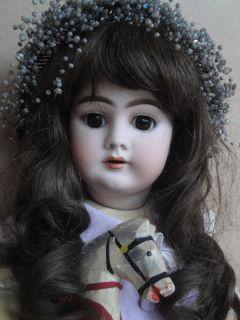 "Fantastique Antique German Doll 1890s Heinrich Handwerck 20 9"" w Antique Horse"