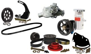 SBC Serpentine Pulley Kit w Pumps Denso Setup 30 Head Mount Power Steering