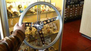 Vtg Style Silver Flake Steering Wheel Rat Hot Rod Custom Gasser VW Lowrider Bomb