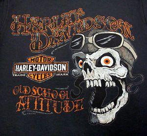 "Ronnie's Harley Davidson Men's Beefy T Shirt ""Skull Googles"" R6778"