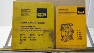 Hatz Diesel Motor Engine Repair Parts Manuals E71 E75 E79 E780 E786 HE780 E785