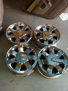 """16 """" Factory Hummer H3 Chrome Wheels Rims Center Caps Goo Used Condition"""