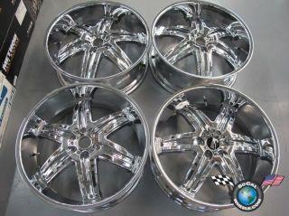 "Four Dub 24"" Illusions Chrome Chevy Cadillac GMC Wheels Rims 30mm 24x9 5"