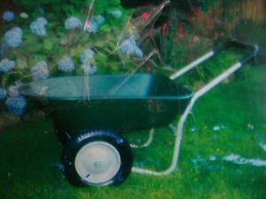5 CU ft Polyres Yard Rover Wheelbarrow Dual Pneumatic Air Filled Tires