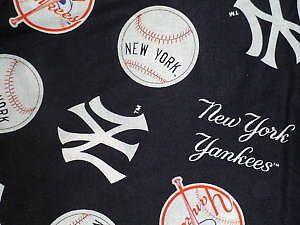 MLB New York Yankees Blue Cotton Fabric 1 Yard 36 x 60