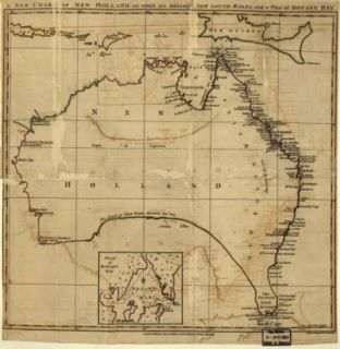 1700 Map Australia Australia New Holland on Which Are Delineated New South Wal