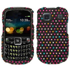 At T ZTE Z431 GoPhone Crystal Diamond Bling Hard Case Phone Cover Rainbow Dots