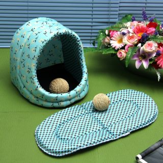 Pink Blue Cat Dog Pet Cozy Soft Collapsible Pet Bed House Kennel Pad Mat Bed M L