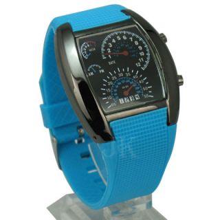 Racing Car Dashboard Design Digital Sport Wrist Watch 6 Color LED Light Unisex