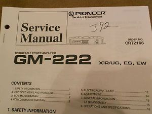 GM 222 Pioneer Original Car Audio Amp Amplifier Service Repair Manual