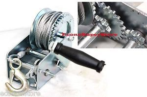 2200lbs Dual Gear Hand Winch Towing Boat Trailer w 33ft Steel Cable Hand Crank