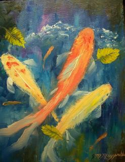 "Original Oil Painting Koi Fish Pond Frame Artwork Genuine Mazz Art 11 x 14"""