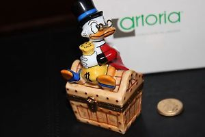 RARE Retired Scrooge McDuck Limoge with Money Bag Gold Coin Artoria