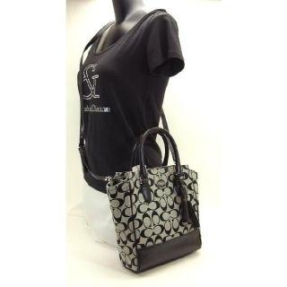 Coach 48879 Legacy Signature Mini Tanner Crossbody Bag Black White Grey